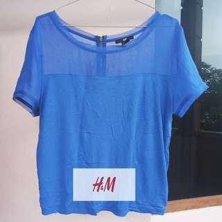 H&m crop blue top