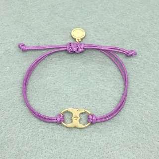 Tory Burch Sample Bracelet 紫色配金色手繩手帶情侶手鏈