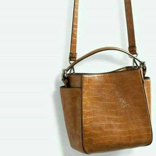 Original zara croco brown sling bag