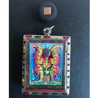 Kruba Krissana 2559 Block A Butterfly Amulet with Loop Om