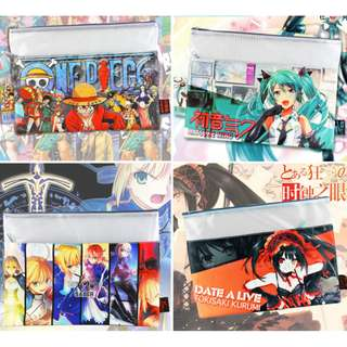 Fate One Piece Miku Naruto A4 Zipper Anime Folder File