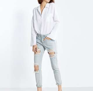 (S) [POMELO] Alissa High Waist Distressed Skinny Jeans - Light Wash