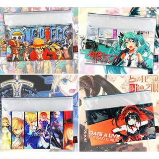 Fate Stay Night One Piece Hatsune Miku GGO Anime A4 Zipper Folder File