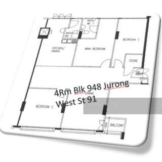 (Negotiable) 4 Room HDB Flat (Selling)