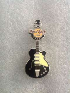 Hard Rock Cafe Pins - MUMBAI HOT 2015 VERTICAL BLACK & SILVER GUITAR PIN!