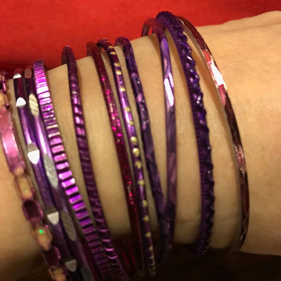 11 pcs purple shades metal bangles Made in India