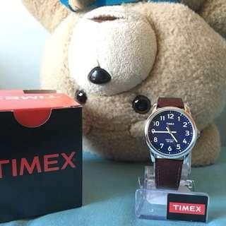全新Timex 深啡皮帶深藍錶面手錶