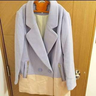 韓式粉紅拼淺藍褸 Korea style coat