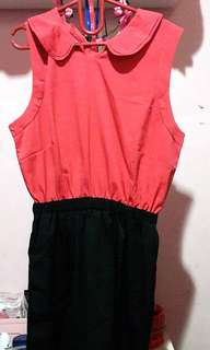 Red round collar dress
