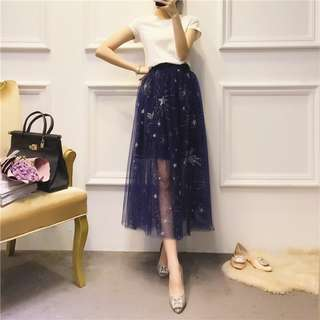 Sequin Starry Embroidery Skirt