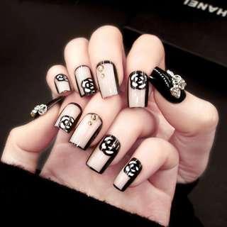 24 Pcs/1 Set Fashion Beauty French Manicure Fake Nails 24PCS Acrylic False Nail Tips Gift Drop Shipping