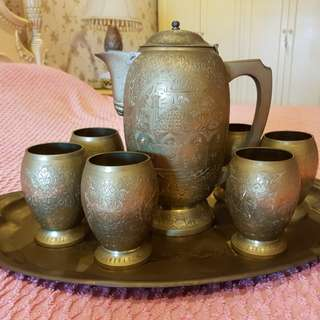 Antique brass coffee set