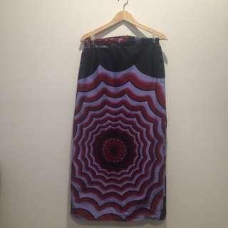Psychedelic handmade ankle length skirt