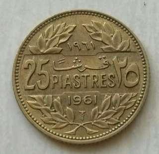 Lebanon 1961 25 Piastres Unc Coin