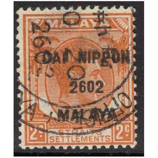 MALAYA JAP. OCC. SGJ224 1942 2c ORANGE FINE USED BL539