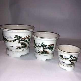 Vintage hand painted plant pots