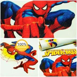 Grosir murah wallpaper sticker dinding kartun anak spiderman merah biru