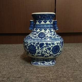 Blue and White Glazed Porcelain Vase