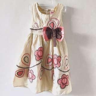 Cream Brown and Honeysuckle Dress