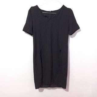Black slit blouse top