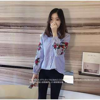 Floral Patch Stripe Long Sleeves Top (Pre-order 7 days)