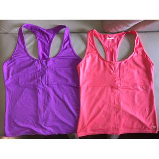 2x Bounce Active Run Singlet Tops - Sz 12 - Purple & Coral