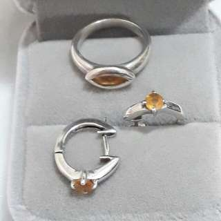 Citrine stone Earrings & Ring in silver 925