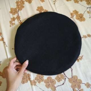 Plain Black Woolen Beret Hat