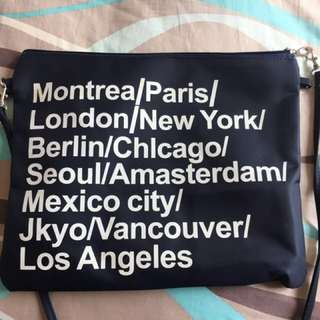 American apparel inspired cities clutch in navy blue