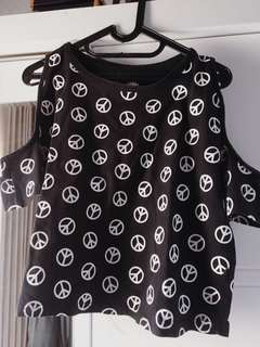 off shoulder peace top
