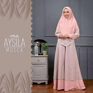 ST - 0318 - Dress Gamis Busana Muslim Wanita Aysila Plus Khimar
