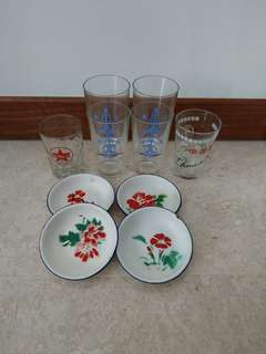 Bundle of vintage glasses & enamel saucers