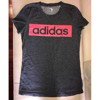 Adidas Essentials Grey and Coral T Shirt - Size Small