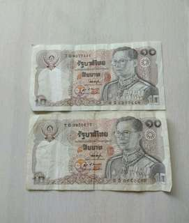 Thailand 2 pcs 10 Bahts Note