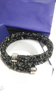 ORI SWAROVSKI black double loop