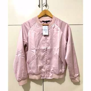 Baby Pink Sateen Bomber