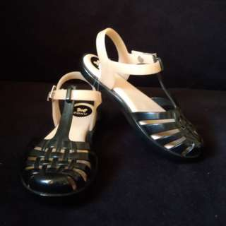 Zaxy black and blush sandals