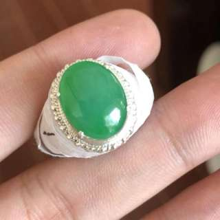 Icy Apple green Jadeite Ring Cabochon