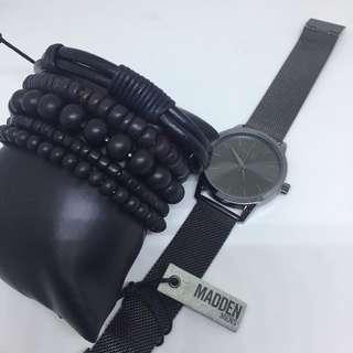 Steve Madden Men's Gunmetal Mesh Watch and Bracelet Set