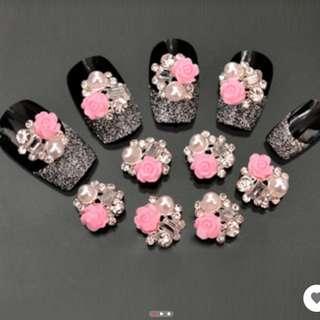 2016 Top Quality 5pcs  Pink Rose Flower Man-made Pearl Nail Art Stickers DIY Beauty Decorations Tips 5WGA 7GUX 8B3B