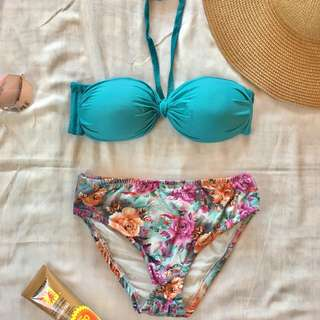 Teal Bandeau Swimsuit