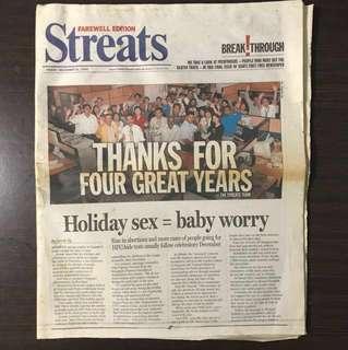 Streats Newspaper Farewell Edition - 31 December 2004 (nt Today, Newpaper, Straits Times, Zao Bao, Wan Bao, Business, Berita, Murasu, SPH)