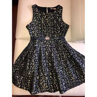 Cooper St Black and Gold A-Line Dress - Size 10 (Aus)