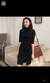 Jynn high neck slit dress