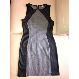 Tight Fit Black Leather and Grey H&M Dress - Size 8