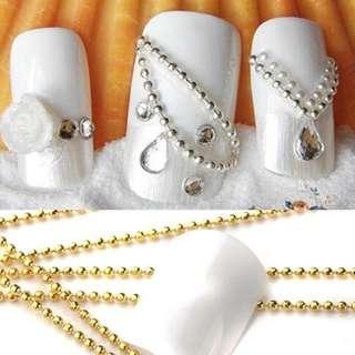 Beads Line Chain for Acrylic Nail Art 3D False Tips DIY Decoration Manicure