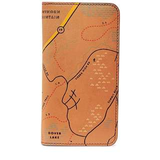 Fossil Men's Embossed Map Leather Phone Case Wallet Iphone7