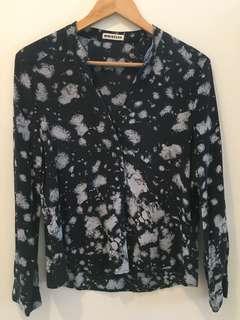 WHISTLES silk blouse - navy/grey, size medium