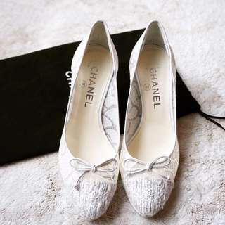 Chanel前端毛呢蝴蝶結優雅低跟鞋