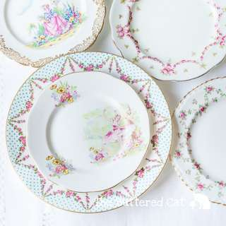 A pretty ensemble of 5 vintage English bone china plates
